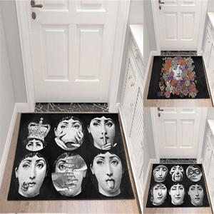Fornasetti estera del piso de la manta de noche de la alfombra de la puerta de la vendimia alfombras de entrada Anti Slip Pasillo Dormitorio piso alfombra de la estera para la sala