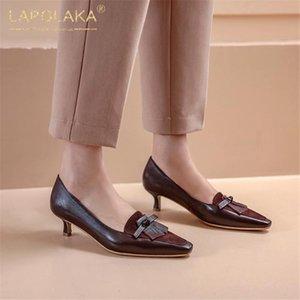 Lapolaka Sıcak Satış 2020 Kid Süet Koyun postu İnce Topuklar Özlü Kadın Ayakkabı Slip-On Kadınlar pompaları Sığ Bahar Ayakkabı pompaları