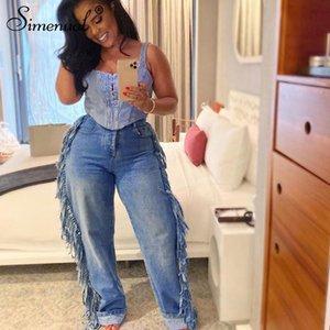 Simenual Vintage Fashion 2019 Women Jeans High Waist Casual Tassel Straight Denim Pants Streetwear Loose Autumn Long Trousers