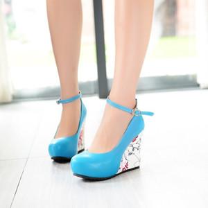 سوف Ebullient2019 رمز أحذية مثير للمرأة تهجئة اللون نمط زخرفي الأحذية واحدة ومشبك مشبك جلب المنحدر سوبر عالية مع