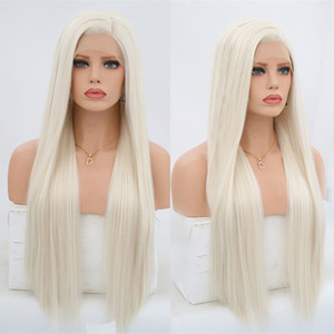 Platinum Blond Synthetic Lace Front Wigs For Women Silky Straight Side Part Heat Resistant Long Blonded Hair Wig