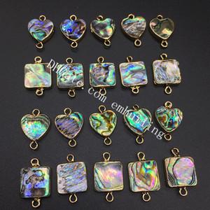 100 Unids Paua Shell Cuadrado Corazón Bisel Conector Bañado En Oro Abalone Rainbow Beads Charm Colgantes para Conectar Piezas de Joyería Juntos