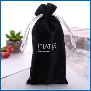 12x20 см собственный логотип парик упаковка черный атлас волос расширение сумка пылезащитный крем для рук шелк с кулиской карманный оптом