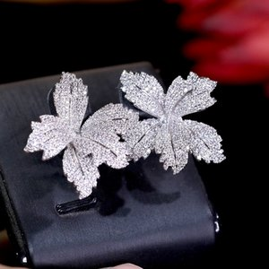 Elegant earrings three-dimensional flower cubic zirconia paved women's engagement party anniversary dress up earring Wedding Accessories ZY