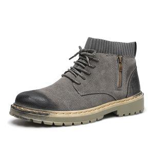 Vintage Style Men Boots Новая мода осень зима лодыжки обувь Мужчины Повседневная Шнуровка Basic Открытый Walking Boots Мужской Botas Hombre 0