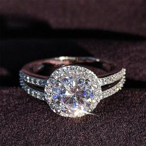 Moonso 925 de boda Anillos de compromiso del halo de plata de ley para la Mujer dedo joyería al por mayor sólida nueva manera de los anillos R211A