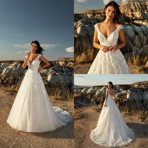 Glitter A-line Eddy K Wedding Dresses V-neck Sleeveless Backless Appliqued Lace Serquins Boho Bridal Dress Sweep Train Robes De Mariée