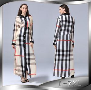 Artı boyutu L 5XL Sundress Retro Kadınlar Ekose Elbise 2019 Yaz Yaka Uzun Kollu Casual Düğmeler Bölünmüş ayak bileği uzunlukta Gömlek vestidos