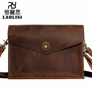 Lucky2019 Leather Genuine Men And Women Concise Joker Single Shoulder Span Crazy Horsehide Briefcase Computer Package Production