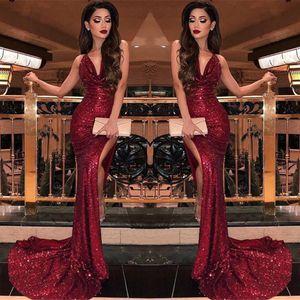 2019 bordeaux scollo av paillettes sirena abiti da ballo split alte fessure vestidos de fiesta sweep treno formale lungo evening party prom gowns BC0866