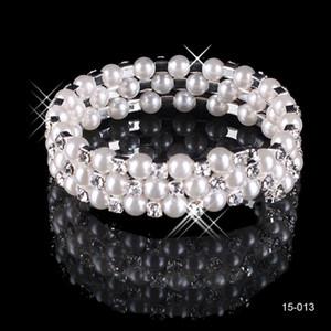 15013 joyería nupcial diamantes de imitación perlas pulseras baratas de novia Accesorios de boda plateada 3 Fila pulsera de cadena de novia de estilo 2019