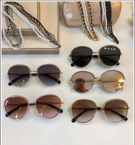 Atacado-Atacado 2184 Gold Grey Shaded Sunglasses Cadeia Colar Sun Glasses Mulheres Designer de Moda óculos de sol gafas Novo com caixa