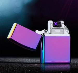 Двойной дуги электрический USB зажигалка перезаряжаемый плазменный ветрозащитный импульсный беспламенного прикуривателя красочные зарядка USB зажигалки