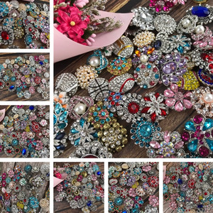 Caldo 150pcs / lot Mix Molti stili 18 millimetri di metallo Snap Button Charm Strass stili di pulsanti rivca Snaps pulsante Gioielli NOOSA Home Decor 4909