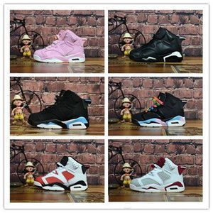2020 Children 6 Basketball shoes for Boys Girls ReTro Infrared Carmine 6s UNC Toro Hare Oreo Maroon Youth Sports Sneakers Kids size EU28-35
