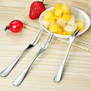 Yüksek kalite Paslanmaz Çelik Kokteyl Forks Meyve Kek Çatal Tatlı Forks Meze Seçtikleri Mutfak Malzemeleri Bar araçları 5 Renkler