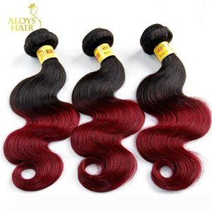 Ombre Malaysian Human Hair Extensions 2 Two Toned 1B 99J Burgundy Red Grade 8A Malaysian Body Wave Virgin Hair Weave Wavy Free Shipping