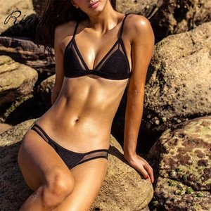 Bikini Mulheres Cruz Bandage Swimsuit Sólidos Terno Swimwear Mulher que banha brilhante Bikini Set Biquini alta Biquinis Qualidade