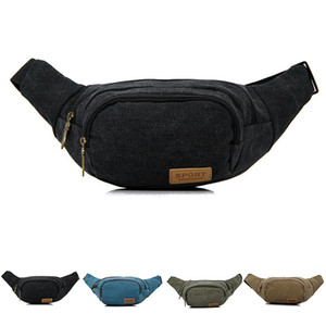Waist Fanny Pack Men Leather Woolen Belt Zipper Waist Bag Travel Wallet Beach