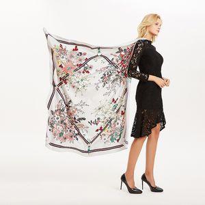 2019 signore di autunno sciarpa di seta bouquet twill di seta con sciarpa grigia superiore regalo soprabito