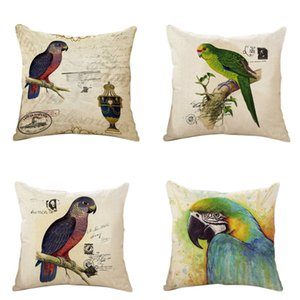 Living Series PillowCase Cotton Linen Decorative Square Throw Pillow Cover Modern Classical American Flower Bird Living Parrot Cushion Cover