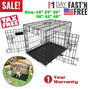 "Pet Dog Folding Steel Crate Playpen Wire Metal Cage 18"" 24"" 30"" 36"" 42"" 48"""