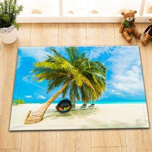 Palm Tree Hanging Chair Tropical Beach Bathroom Mat Right Angle Non-slip Door Pad Children 40X60CM