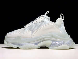Paris calçados casuais da sapatilha de combinação de cristal da parte inferior das mulheres dos homens Shoes Calçados Triple-S Dad Limpar Sole Trainers Lazer Moda Chaussures