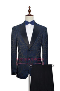 2019 Ink Blue Embroidery Pattern Formal Men's Tuxedos Suits New Elegant Tuxedos For Formal Party Wear Two Pieces Suits Wedding Wear SU0007