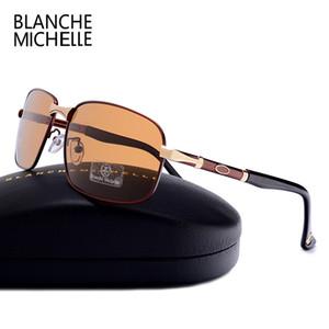 블랑쉬 미셸 사각형 편광 선글라스 남성 2018 새로운 UV400 빈티지 태양 안경 남자