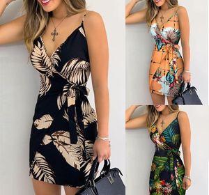 Womens Saia Sem Posicionamento Impressão Mulheres Designer Vestuário V Neck Moda Vestidos Ladies Spaghetti Strap Imprimir