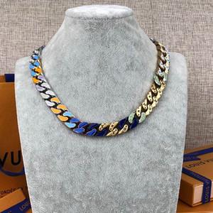 CONEXIONES DE CADENA parches pendientes collar de la joyería hacia fuera helado collar de cadenas de anillos para hombre 14k cadenas de oro cadena de eslabones cubano M68259