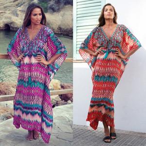 Yeni Boho Yaz Kadınlar Çiçek Maxi Beach Dress Bikini Mayo Mujer Gevşek Sundress Beachwear Örtbas