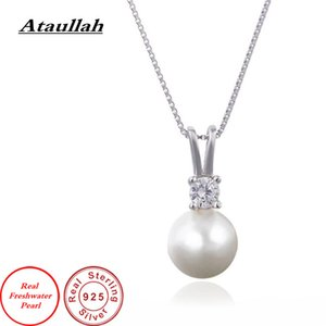 Ataullah Real Natural Freshwater Pearl Pendant Necklace Silver 925 Jewelry Qualities for Woman DIY Necklaces PW001
