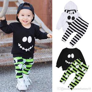 Ins Erkek Cadılar Bayramı Uzun Kollu Gömlek Şerit Pantolon Giyim Seti Hoodie Pantolon 2 ADET Set Çocuklar Kıyafet Gülümseme Yüz