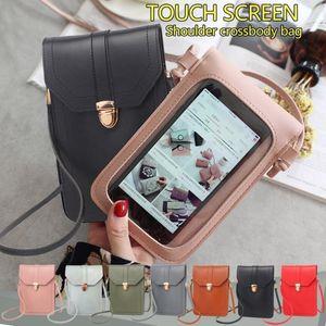 Bolsas feminina Мини Мобильный телефон сумка с Back Side Clear Касание экрана окна кожаная сумка смартфон бумажник PU плеча