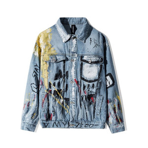 Fashion Casual Graffiti Hippie Washed Destroy Fades Vintage Indigo Blue Denim Jacket Sweatshirt Streetwear Harajuku Heavy Cottom