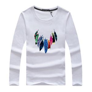 2019 Autunno Nuovo T della camicia degli uomini, maglietta di alta qualità O-Collo di colore puro amanti della maglietta degli uomini di prezzi a maniche lunghe basso di