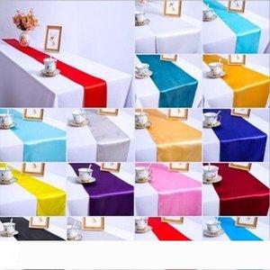 A Satin Table Runner Wedding Party Banquet Decor Hotel Restaurant Satin Table Flag Table Linen Venue Decor Supplies 30*275cm