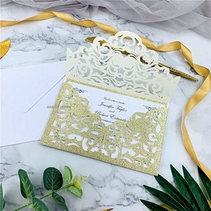 Cordially Inviting - Glitter Champagne Gold Laser Cut Pocket With Customized Insert, Floral Laser Cut Wedding Invites