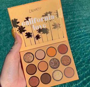 Yeni Geliş Colourpop Kaliforniya Aşk Palet 12 Renkler Makyaj Seti Turuncu Kabak renk Göz Farı Paleti Ücretsiz Kargo