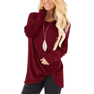 12 renk Kadın Casual Katı T Gömlek Düzensiz Gevşek O Yaka Uzun Kollu Ücretsiz kargo Tops Knot Tünikler Bluzlar Yan çevirin Tops çevirin