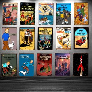 Entrar Tintin cartoon lata de filme placa de metal Ferro pintura placa quarto da parede dos miúdos Bar Coffee Home Art Craft Decor 30X20CM Artes Artesanato Presentes