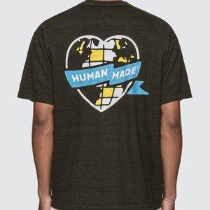 20SS Street Trend HM Love Heart Printing Logo Tee Lattice Pattern Short Sleeve Shirts Couple Designer Women Mens Fashion T-shirt HFXHTX222