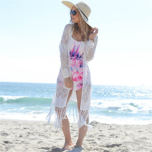 2020 Sexy See Through Fringed White Laintel Long Kimono Cardig Wears Cover-Ups Plus Summer Bikinis Beach Weaps and Blouses