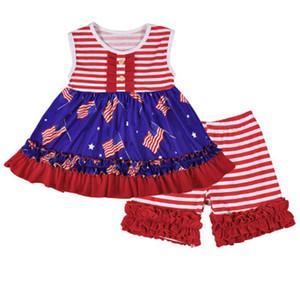 Девушка в полоску Splice Set Дети Звезды Печать Короткие юбки Шорты Набор Американский Флаг Независимости Национальный День США 4 июля без рукавов