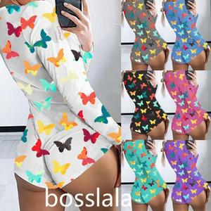 Diseñador de las mujeres del mono de verano ropa de dormir Playsuit botón del entrenamiento flaco caliente de la mariposa Impreso V-cuello corto tamaño mamelucos Bodies Plus