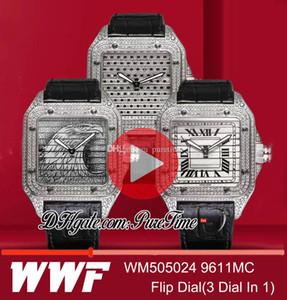 """WWF Triple 100 WM505024 9611MC automatico Mens Watch cassa del diamante """"Eagle"""" Dial vibrazione di Diamante Romarn 3 Dial in 1 in pelle Best Edition Puretime"""