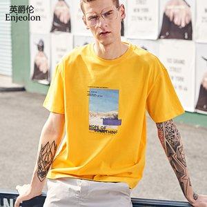 Enjeolon Tshirt Uomo Estate Maniche corte O-Collo Stampa Cotone Streetwear Casual Maschile Tee Shirts T3901