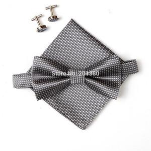 2019 yeni varış erkek boyun kravat seti bowties Bow Ties kol düğmeleri Cep kare mendil